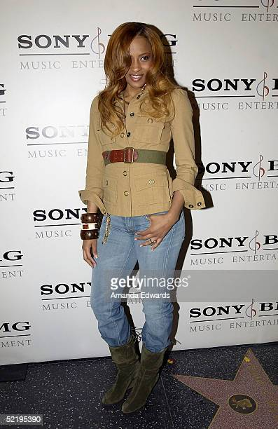 Singer Ciara arrives at the Sony BMG Music Entertainment Grammy Party on February 13 2005 at the Hollywood Roosevelt Hotel in Hollywood California