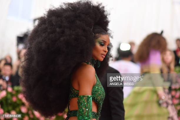 TOPSHOT US singer Ciara arrives for the 2019 Met Gala at the Metropolitan Museum of Art on May 6 in New York The Gala raises money for the...