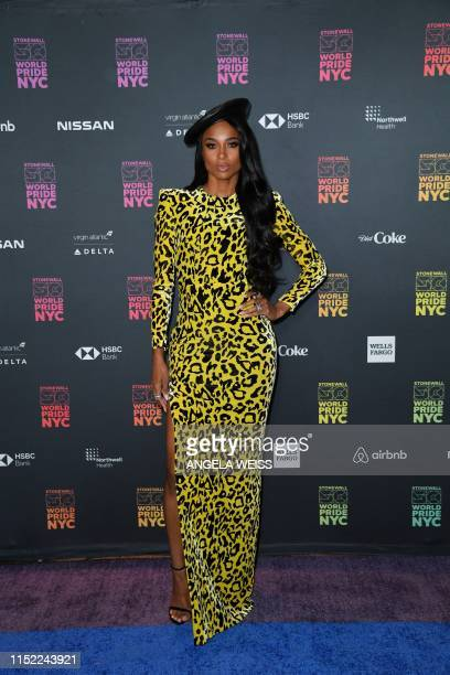 Singer Ciara arrives for the opening ceremony of WorldPride 2019 at Barclays Center in Brooklyn New York on June 26 2019 New York's highly...