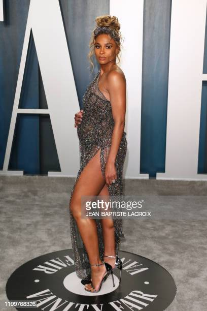 US singer Ciara attends the 2020 Vanity Fair Oscar Party following the 92nd Oscars at The Wallis Annenberg Center for the Performing Arts in Beverly...