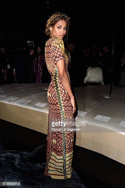 Singer Ciara attends the HM show as part of the Paris Fashion Week Womenswear Fall/Winter 2016/2017 on March 2 2016 in Paris France