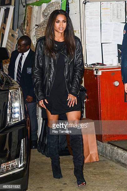 Singer Ciara leaves the Live With Kelly And Michael taping at the ABC Lincoln Center Studios on October 13 2015 in New York City