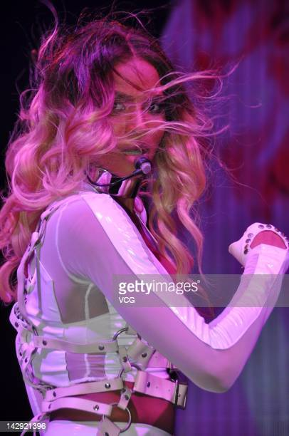 Singer Ciara performs on the stage during the MercedesBenz C63 AMG launch at Shanghai World Expo Park on April 14 2012 in Shanghai China