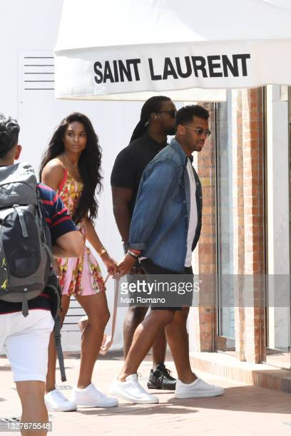 Singer Ciara Princess Harris and Seattle Seahawks quarterback Russell Wilson stroll in the streets of Capri on July 08, 2021 in Capri, Italy.