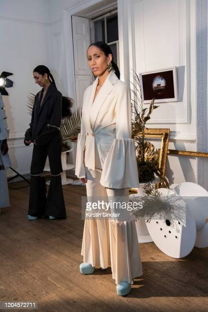 Singer Ciinderella Balthazar at the Maison Bent AW20 Presentation at Pushkin House on February 06 2020 in London England