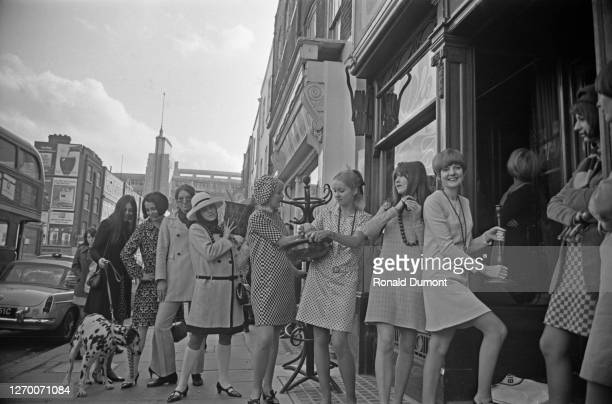 Singer Cilla Black and broadcaster Cathy McGowan among others arrive at the new Biba boutique on Kensington Church Street, London, near the junction...