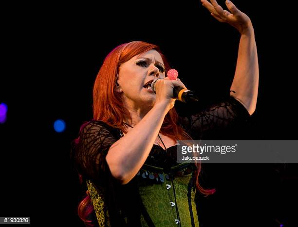 Singer Cindy Wilson of the US Rock band 'The B52's' performs live during a concert at the Zitadelle on July 14 2008 in Berlin Germany The concert is...