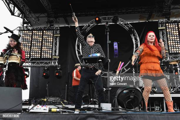 Singer Cindy Wilson, singer Fred Schneider and singer Kate Pierson of the The B-52's perform on stage at the Growlers 6 festival at the LA Waterfront...