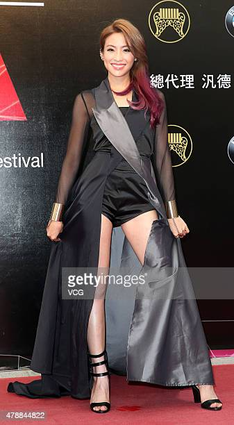 Singer Cindy Yen arrives at the red carpet of 26th Golden Melody Awards at Taipei Arena on June 27 2015 in Taipei Taiwan