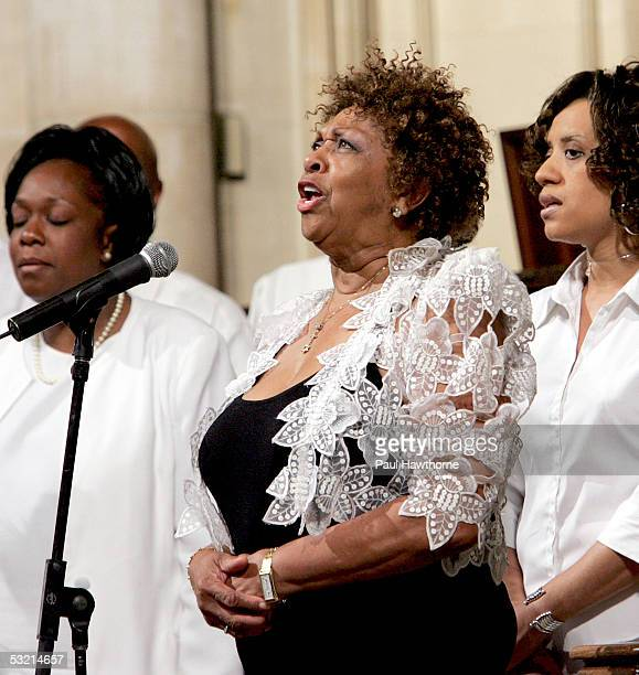Singer Cissy Houston performs during the funeral of Luther Vandross at Riverside Church July 8 2005 in New York City