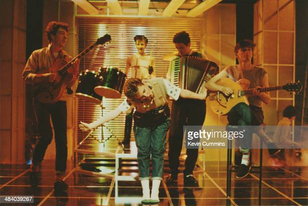 Singer Clare Grogan performing with Scottish new wave band Altered Images on the BBC music show 'Cheggers Plays Pop' 5th April 1982