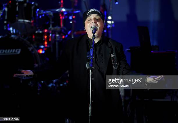 Singer Claude Strilio of the band Anything Box performs at The Starlight Bowl on August 12 2017 in Burbank California