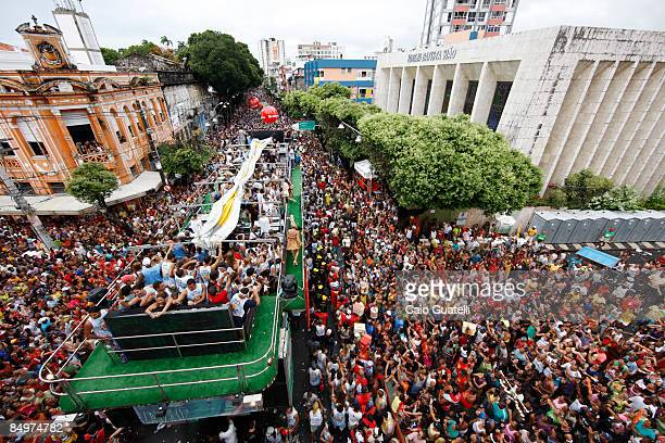 Singer Claudia Leitte performs on a music truck as thousands follow in Campo Grande street carnival track on February 22 2009 in Salvador Brazil