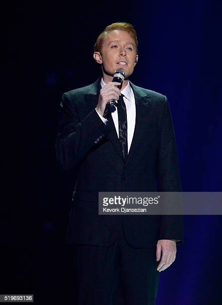 Singer Clay Aiken performs onstage during FOX's American Idol Finale For The Farewell Season at Dolby Theatre on April 7 2016 in Hollywood California...