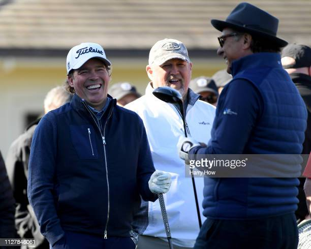 Singer Clay Walker comedian Daniel Lawrence Whitney and actor Andy Garcia laugh on the first tee during the 3M Celebrity Challenge at the ATT Pebble...