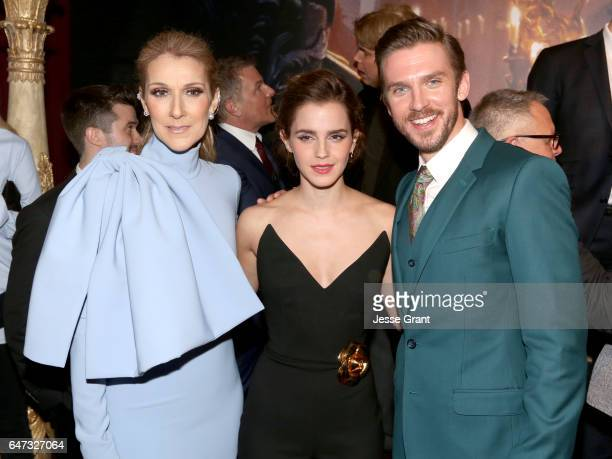 Singer Céline Dion actress Emma Watson and actor Dan Stevens arrive for the world premiere of Disney's liveaction 'Beauty and the Beast' at the El...