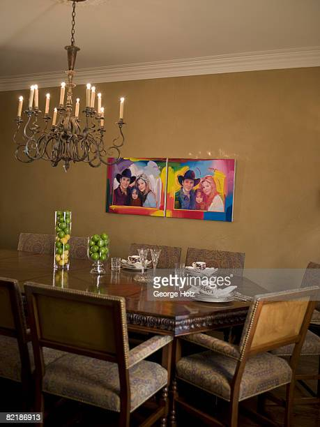Singer Clint Black and actress/wife Lisa Hartman Black's home is photographed for People Magazine on May 1 2008 in Nashville Tennesee The dining room...