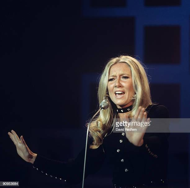 Singer Clodagh Rodgers performs on stage in 1969