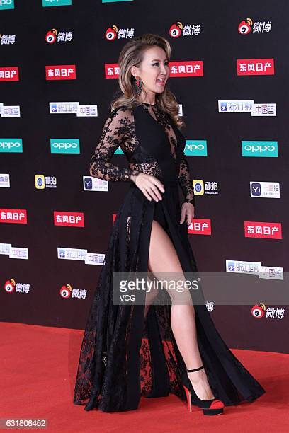 Singer Coco Lee arrives at red carpet of 2016 Weibo Awards Ceremony on January 16 2017 in Beijing China
