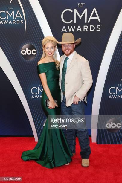 Singer Cody Johnson and Brandi Johnson attend the 52nd annual CMA Awards at the Bridgestone Arena on November 14 2018 in Nashville Tennessee