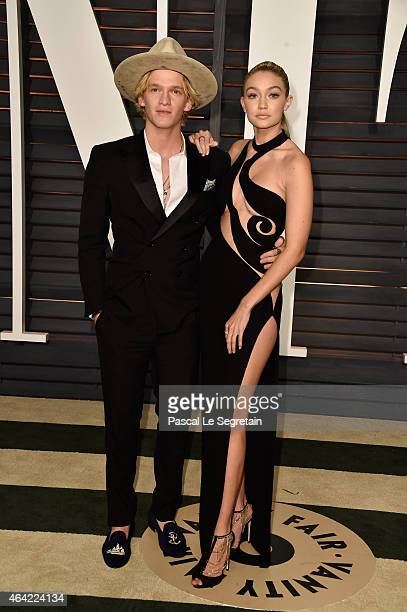 Singer Cody Simpson and model Gigi Hadid attend the 2015 Vanity Fair Oscar Party hosted by Graydon Carter at Wallis Annenberg Center for the...