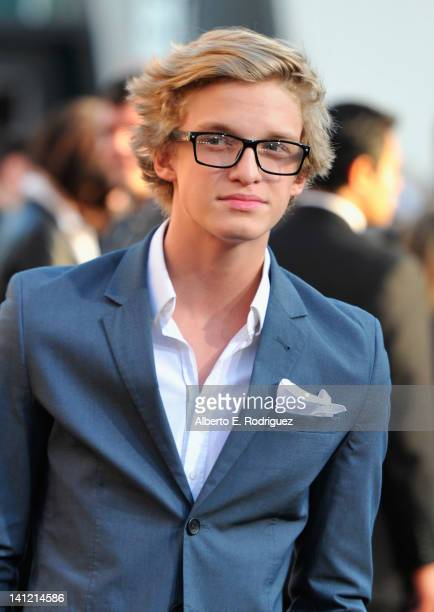 """Singer Cody Simpson arrives to the premiere of Lionsgate's """"The Hunger Games"""" at Nokia Theatre L.A. Live on March 12, 2012 in Los Angeles, California."""