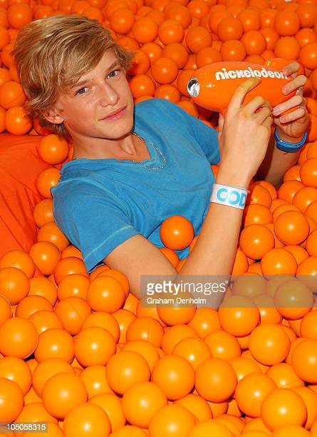 Singer Cody Simpson poses with the award for Fresh Aussie Musos during the Australian Nickelodeon Kids' Choice Awards 2010 at the Sydney...
