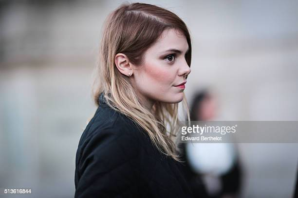 Singer Coeur de Pirate is seen after the Barbara Bui show during Paris Fashion Week Womenswear Fall Winter 2016/2017 on March 3 2016 in Paris France