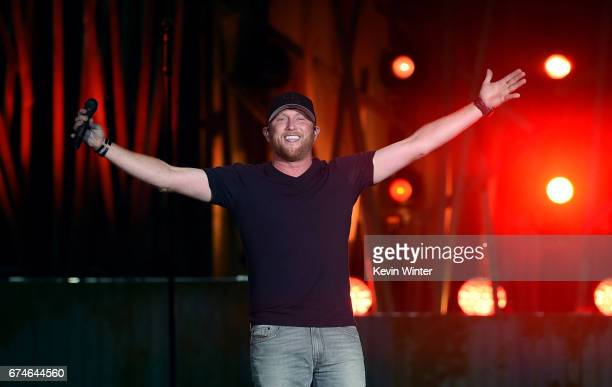 Singer Cole Swindell performs on the Toyota Mane Stage during day 1 of 2017 Stagecoach California's Country Music Festival at the Empire Polo Club on...