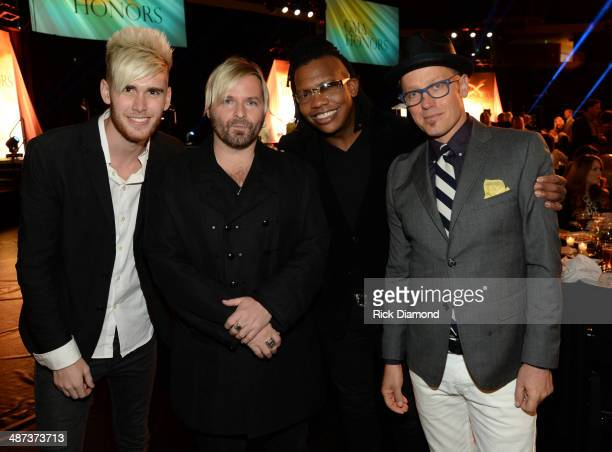 Singer Colton Dixon and Kevin Max TobyMac and Michael Tair of dc Talk attend the GMA Honors Celebration and Hall of Fame Induction at the Allen Arena...