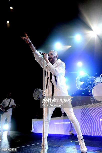 Singer Colton Dixon performs onstage during the Air 1 Positive Hits tour at Citizens Business Bank Arena on October 22 2017 in Ontario California