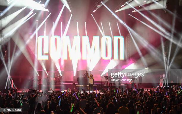 Singer Common performs at the Gavin Newsom Califormia Rises Benefit Concert to raise money for wildfire relief victims at Golden 1 Center on January...