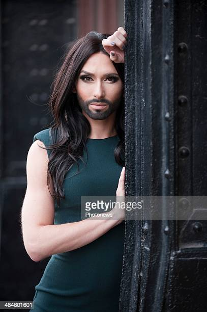 Singer Conchita Wurst aka Tom Neuwirth poses in the center of Ghent, on January 18, 2014 in Ghent, Belgium. He will be representing Austria in the...