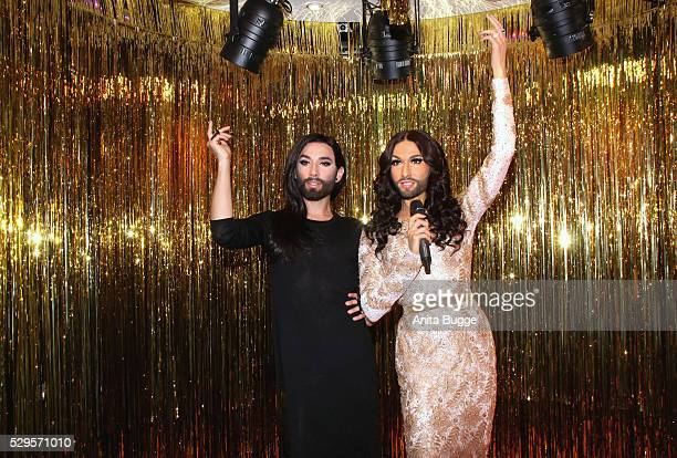 Singer Conchita Wurst unveils her own wax figure at Madame Tussauds on May 8 2016 in Berlin Germany