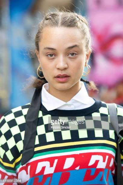Singer Connie Constance wears all Iceberg during London Fashion Week Men's June 2019 on June 08 2019 in London England