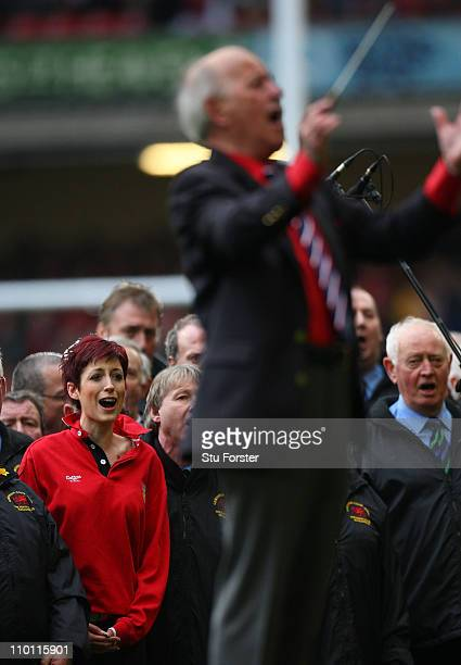 Singer Connie Fisher sings with the Choir before the RBS Six Nations Championship match between Wales and Ireland at the Millennium Stadium on March...