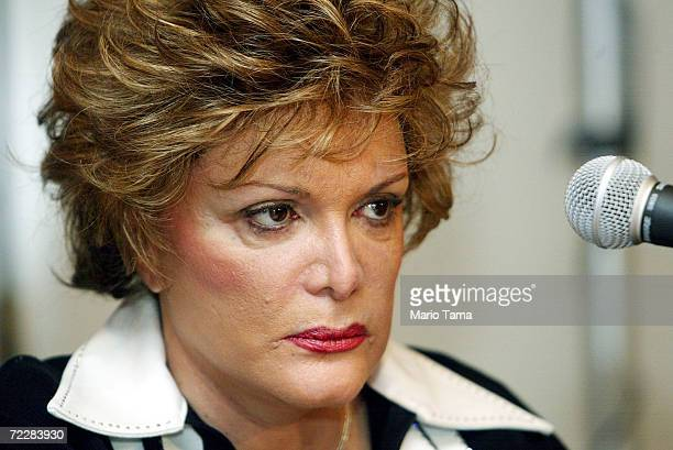 Singer Connie Francis attends a press conference where she announced her lawsuit against Universal Music Corporation for $45 million March 12 2002 in...
