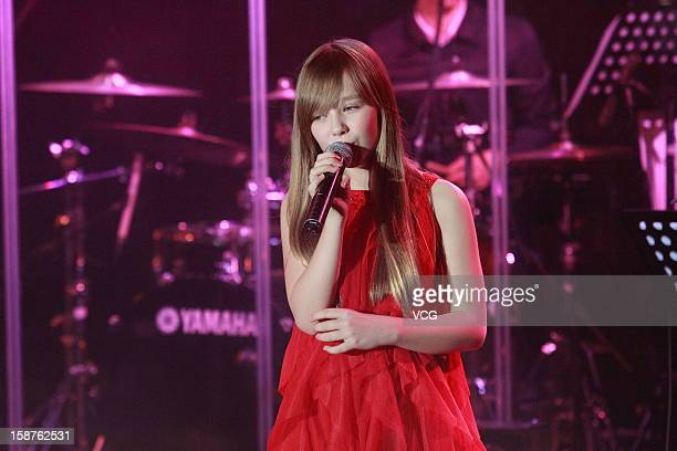 Singer Connie Talbot performs on the stage during her concert at Hong Kong International Trade and Exhibition Centre on December 27 2012 in Hong Kong