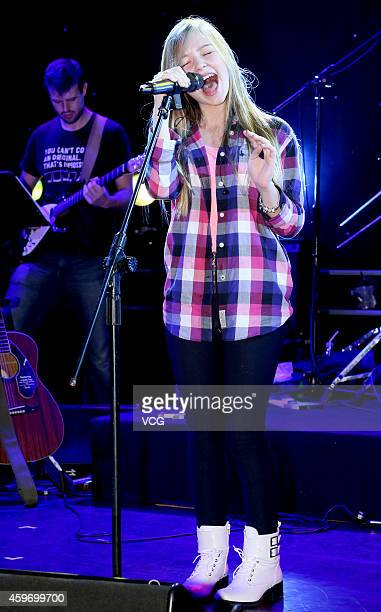 Singer Connie Talbot performs on the stage during her Gravity Tour 2014 concert at Hana Ramp on November 28 2014 in Taipei Taiwan of China