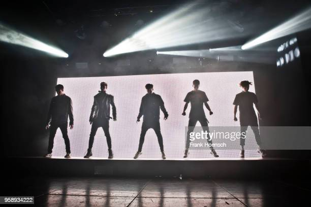 Singer Corbyn Besson Jonah Marais Jack Avery Zach Herron and Daniel Seavey of the American band Why Don't We perform live on stage during a concert...