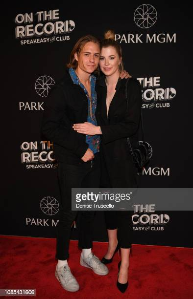 Singer Corey Harper and model Ireland Baldwin attend the grand opening celebration of On The Record Speakeasy and Club at Park MGM on January 19 2019...