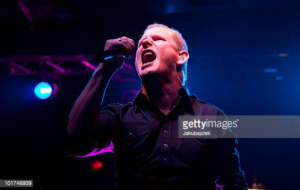 Singer Corey Taylor of the USAmerican numetal band Stone Sour performs live during a concert at the CClub on June 7 2010 in Berlin Germany The...