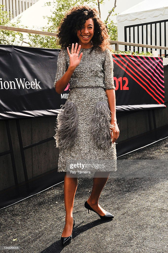 Singer Corinne Bailey Rae enters the Mercedes-Benz Fashion Week at Lincoln Center on September 9, 2011 in New York City.