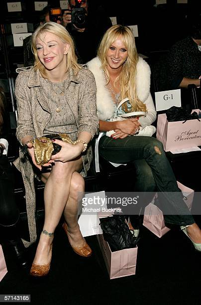 Singer Courtney Love and model Kimberly Stewart in the front row at the Agent Provocateur Fall 2006 show during MercedesBenz Fashion Week at Smashbox...