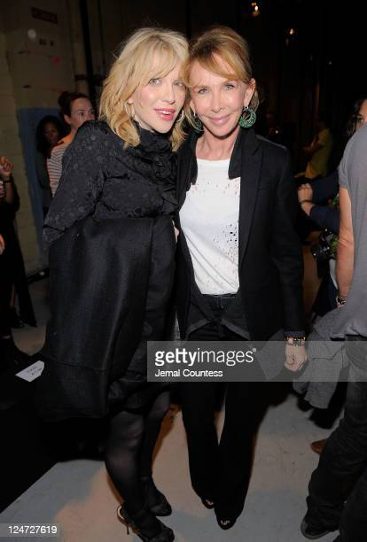 Singer Courtney Love and Trudie Styler attend the Edun Spring 2012 fashion show during MercedesBenz Fashion Week at 330 West Street on September 11...