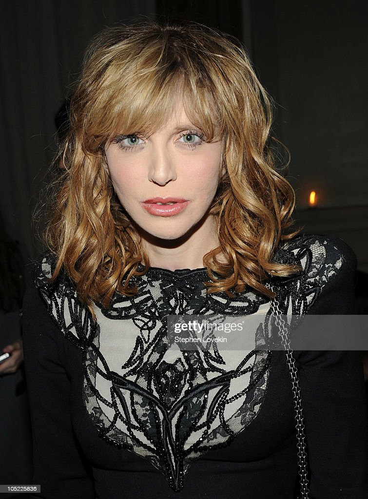 Singer Courtney Love attends the Cinema Society & Laura Mercier host the after party for 'Conviction' at Soho Grand Hotel on October 12, 2010 in New York City.