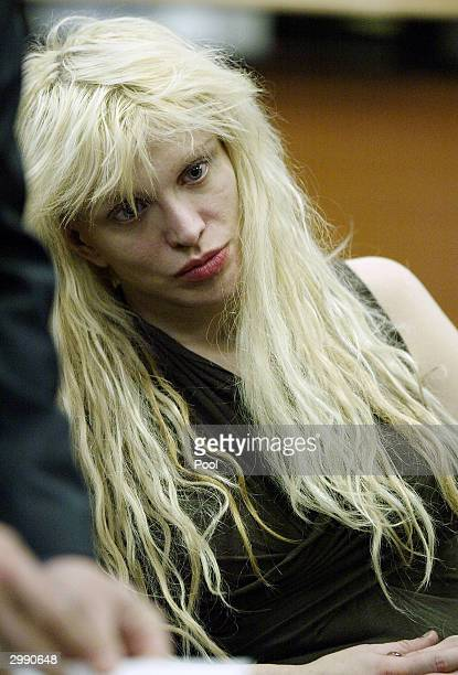 Singer Courtney Love makes an appearance in Beverly Hills Superior Court to face drug charges February 17 2004 in Beverly Hills California