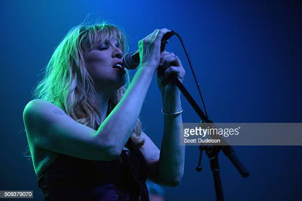 Singer Courtney Love of the band Hole performs onstage at The Fonda Theatre on February 9 2016 in Los Angeles California