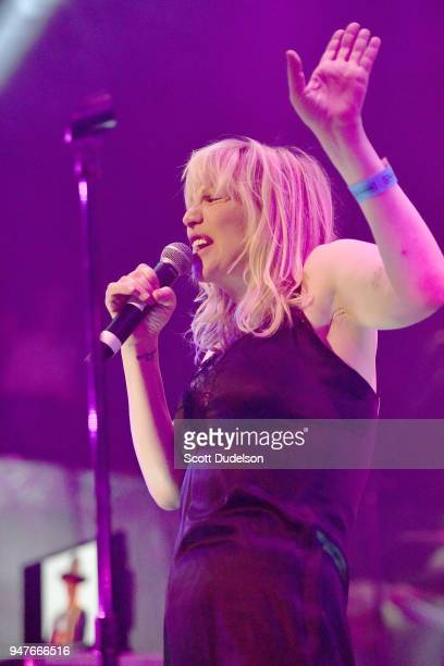 Singer Courtney Love of the band Hole performs onstage during the Above Ground concert benefiting MusiCares at Belasco Theatre on April 16 2018 in...