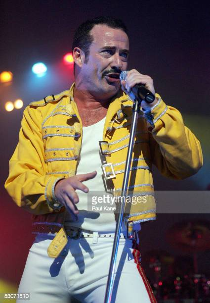 """Singer Craig Pesco, as Freddie Mercury, performs during the QUEEN """"It's A Kinda Magic"""" tribute show at Burswood Theatre on June 15, 2005 in Perth,..."""